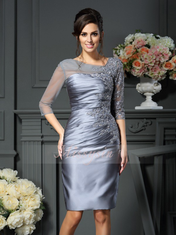 1/2 Sleeves Scoop Satin Knee-Length Silver Mother of the Bride Dresses