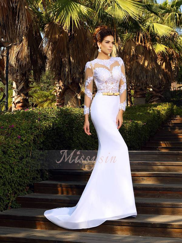 Long Sleeves Scoop Satin Court Train White Wedding Dresses