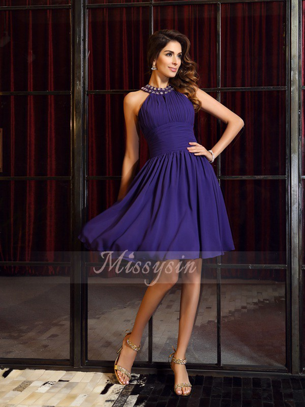 Sleeveless High Neck Chiffon Knee-Length Regency Bridesmaid Dresses