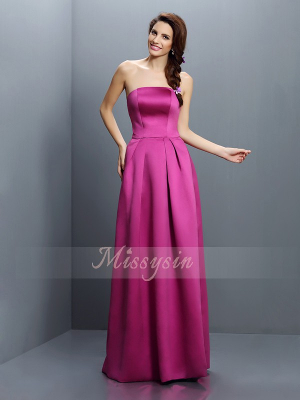Sleeveless Strapless Satin Long Fuchsia Bridesmaid Dresses