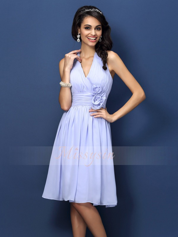 Sleeveless Halter Chiffon Knee-Length Lavender Bridesmaid Dresses