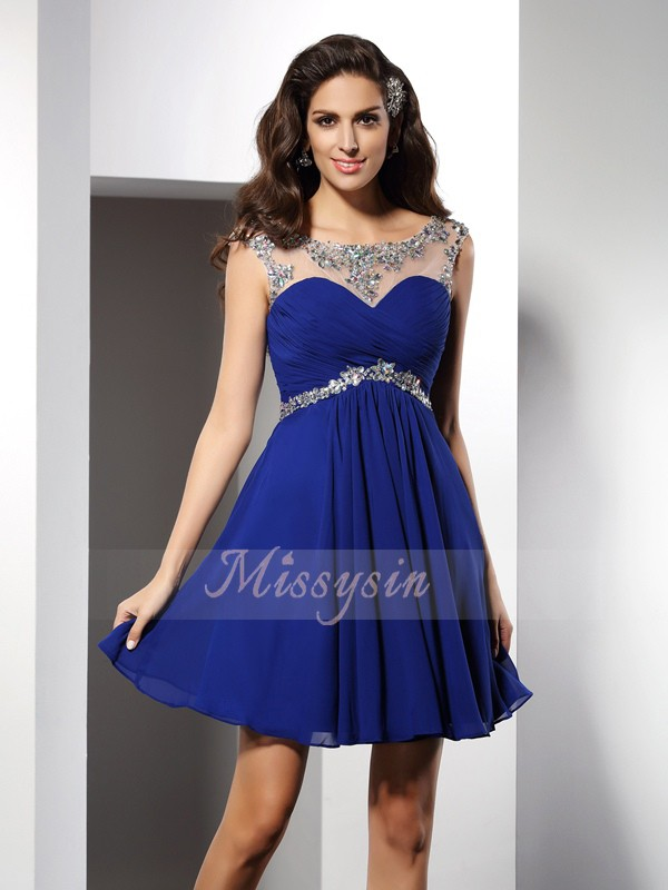 Sleeveless Scoop Chiffon Short/Mini Royal Blue Cocktail Dresses