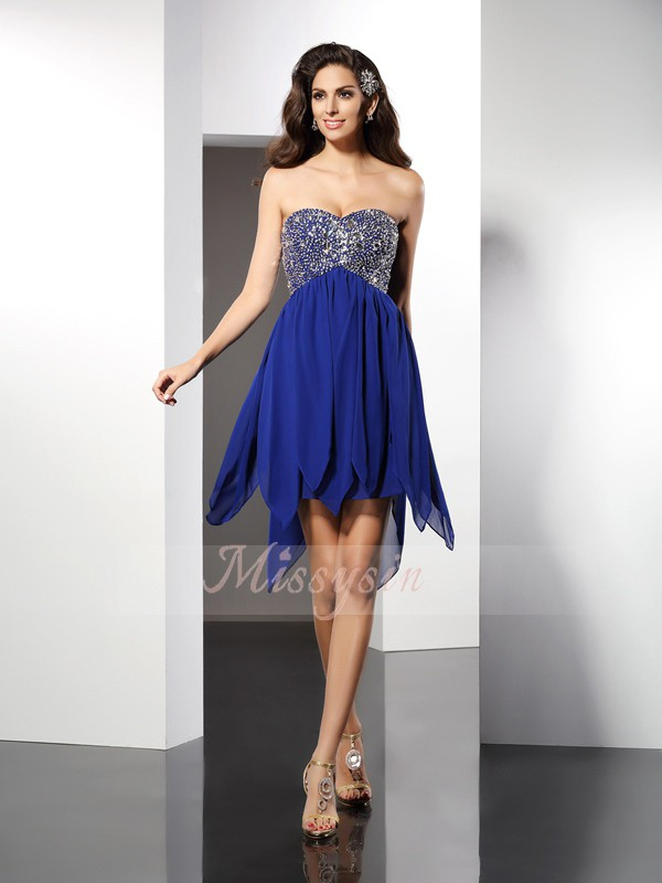 Sleeveless Sweetheart Chiffon Short/Mini Royal Blue Cocktail Dresses