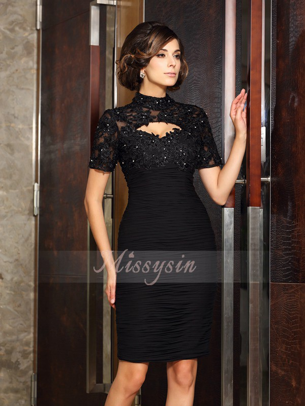 Short Sleeves High Neck Chiffon Knee-Length Black Mother of the Bride Dresses