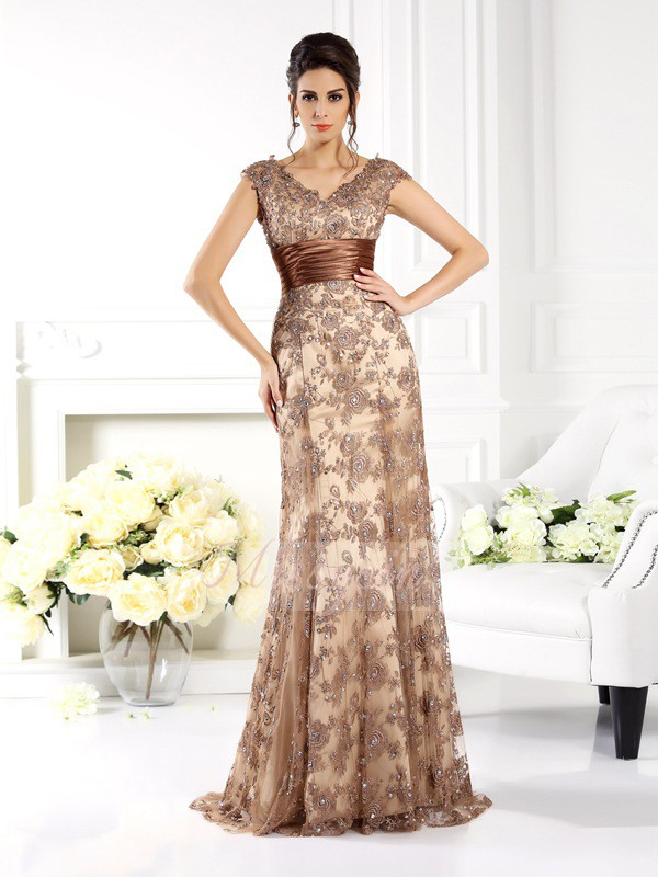 Sleeveless V-neck Satin Sweep/Brush Train Champagne Mother of the Bride Dresses