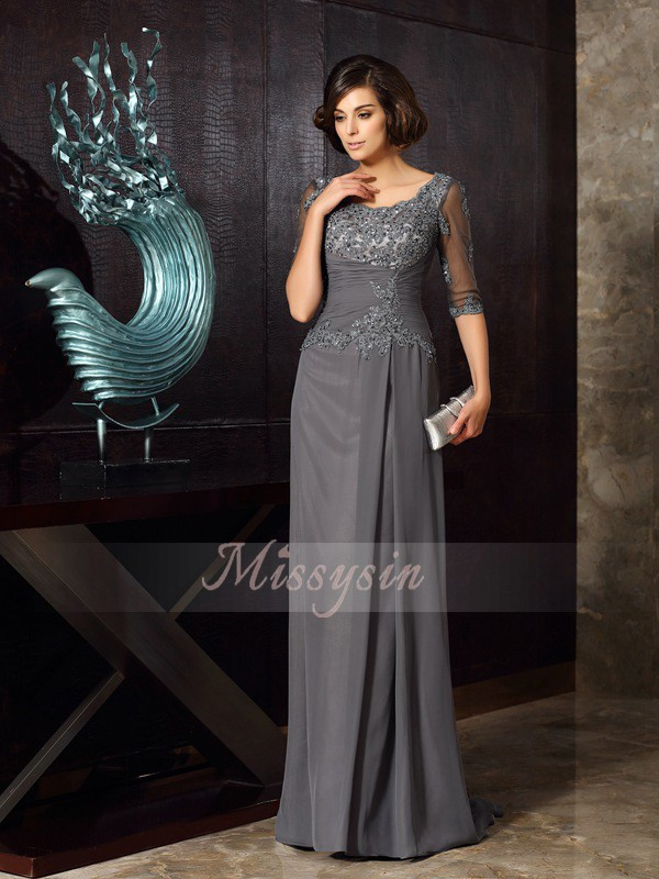 1/2 Sleeves Scoop Chiffon Long Grey Mother of the Bride Dresses