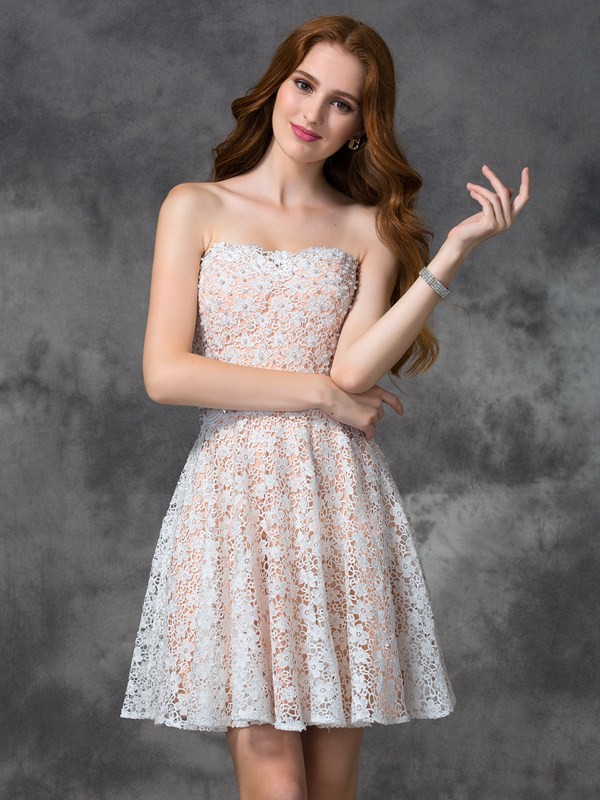 A-line/Princess Sleeveless Sweetheart Short White Dresses