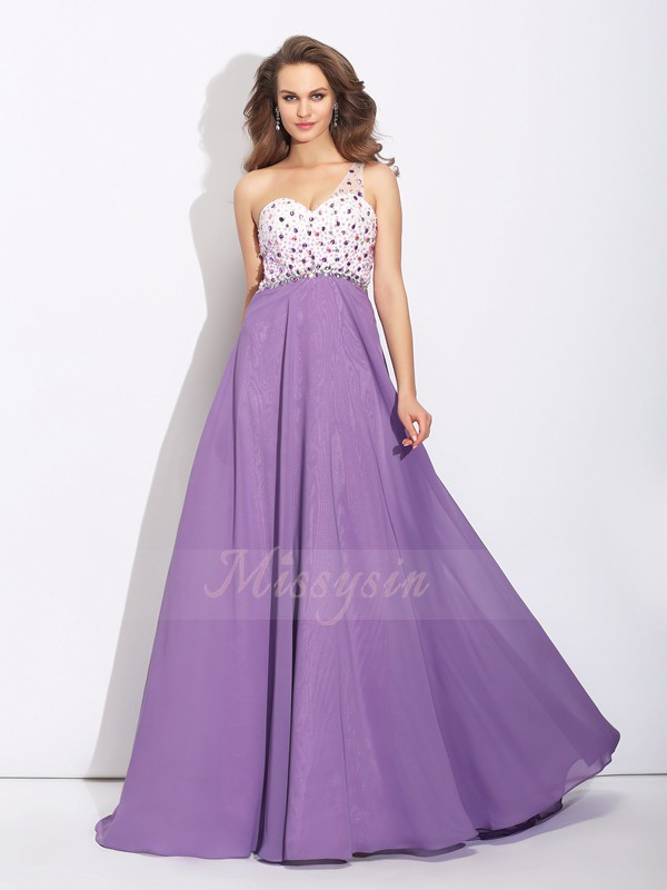 A-Line/Princess Sleeveless One-Shoulder Sweep/Brush Train Regency Dresses