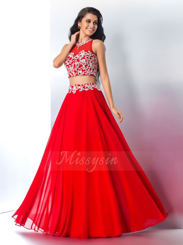 A-Line/Princess Sleeveless Sheer Neck Long Red Dresses