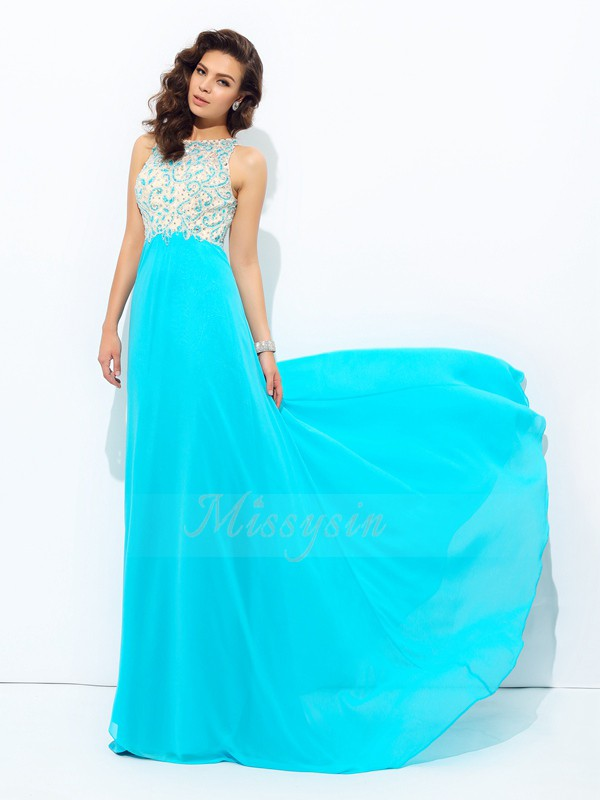 A-line/Princess Sleeveless Scoop Long Blue Dresses