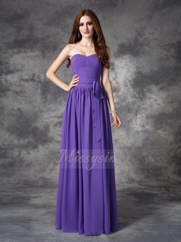 A-line/Princess Sleeveless Sweetheart Long Regency Bridesmaid Dresses