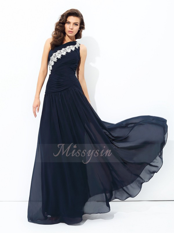 A-line/Princess Sleeveless One-Shoulder Long Dark Navy Dresses