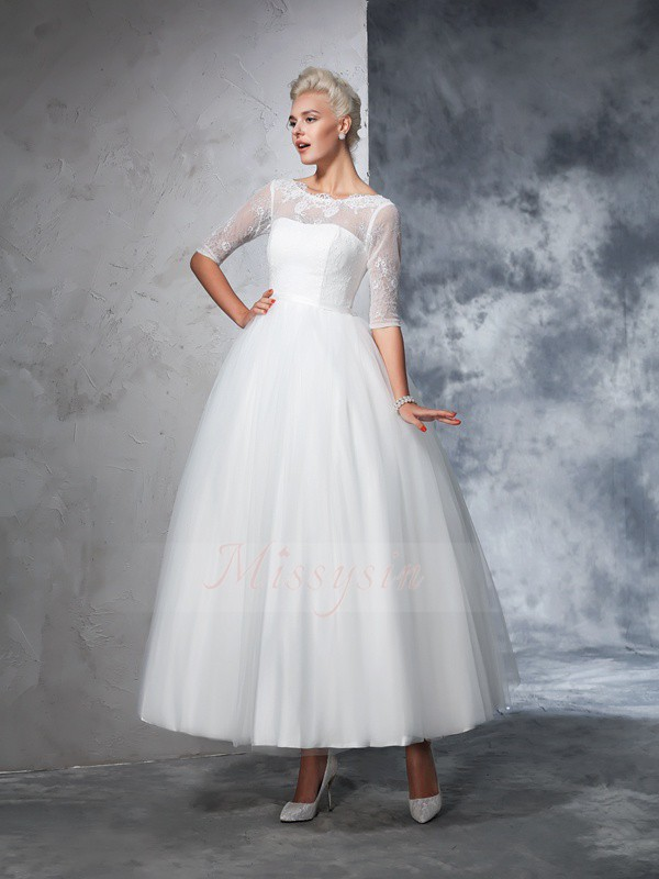 Ball Gown 1/2 Sleeves Bateau Ankle-Length Ivory Wedding Dresses