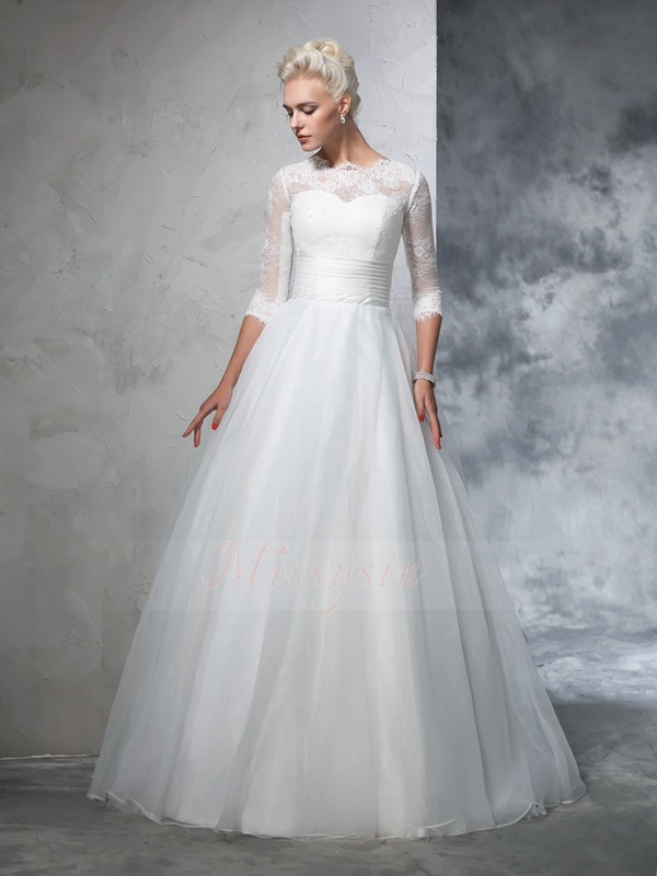 Ball Gown 3/4 Sleeves Jewel Long Ivory Wedding Dresses