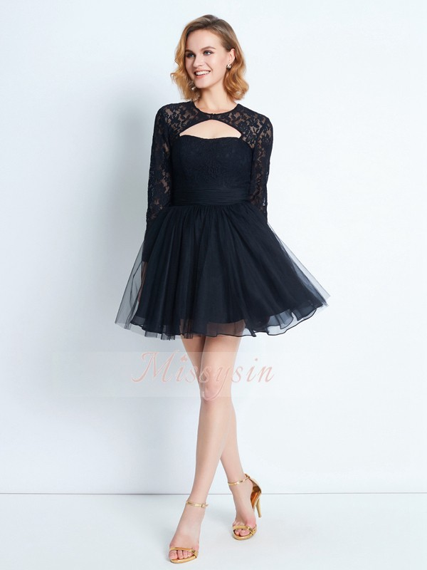 A-Line/Princess Long Sleeves Short Black Homecoming Dresses