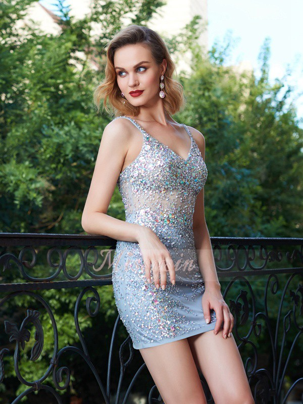 Sheath/Column Sleeveless Short Silver Homecoming Dresses
