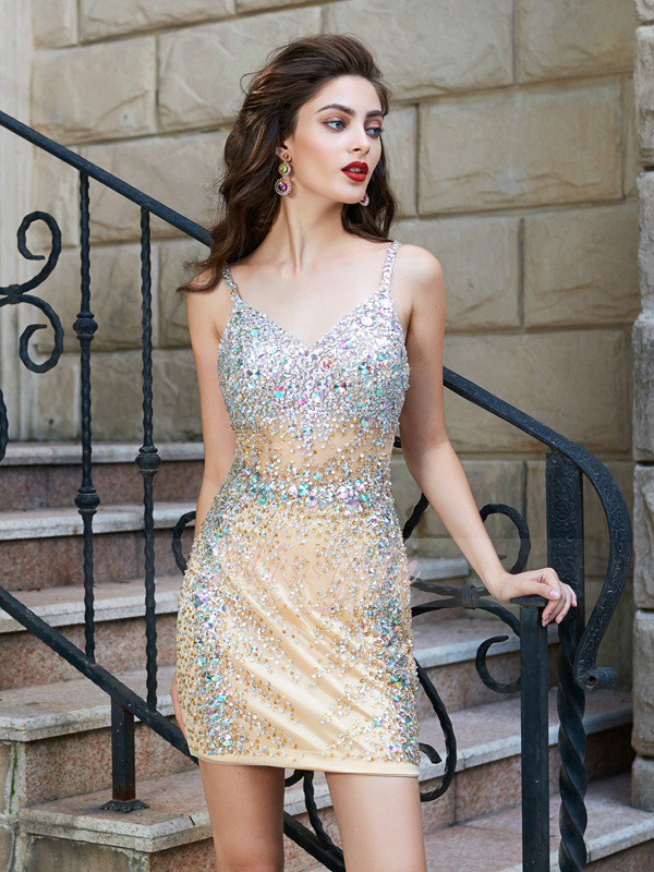 Sheath/Column Sleeveless Short Gold Homecoming Dresses