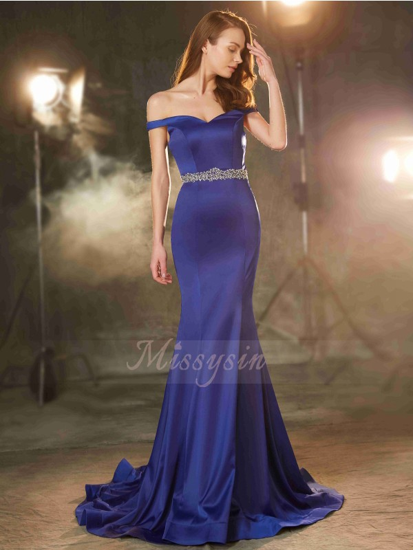 Sleeveless Off-the-Shoulder Sweep/Brush Train Royal Blue Prom Dresses