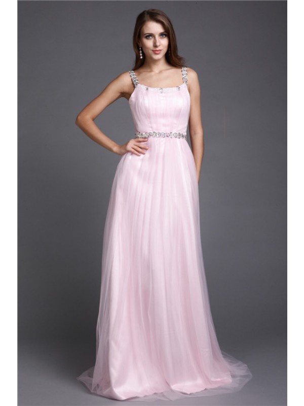 Sleeveless Spaghetti Straps Long Pink Dresses