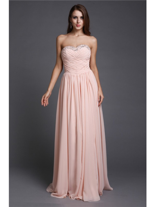Sleeveless Sweetheart Long Pearl Pink Dresses