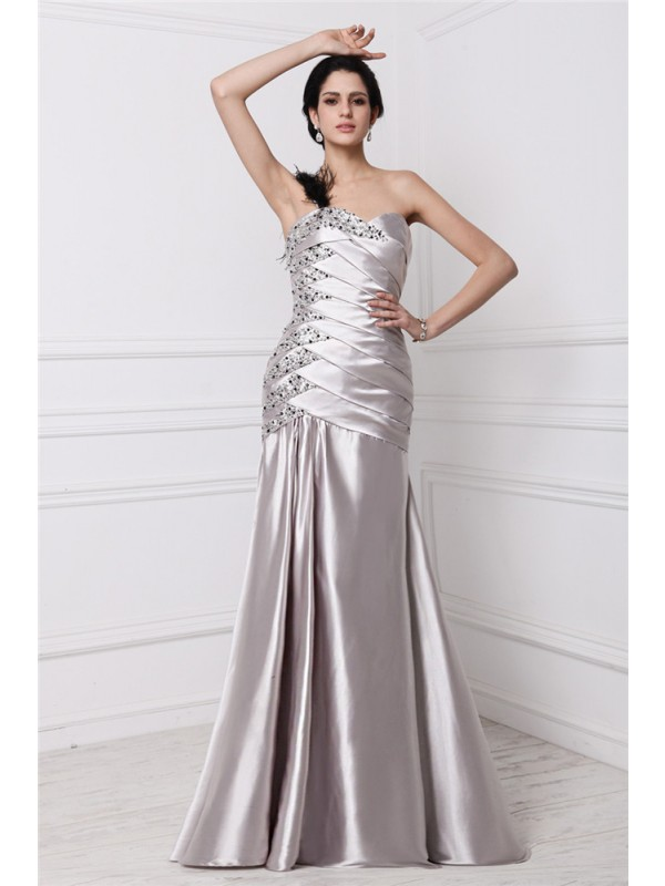 Sleeveless Sweetheart Long Silver Dresses