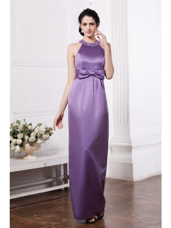 Sleeveless Scoop Long Lavender Bridesmaid Dresses