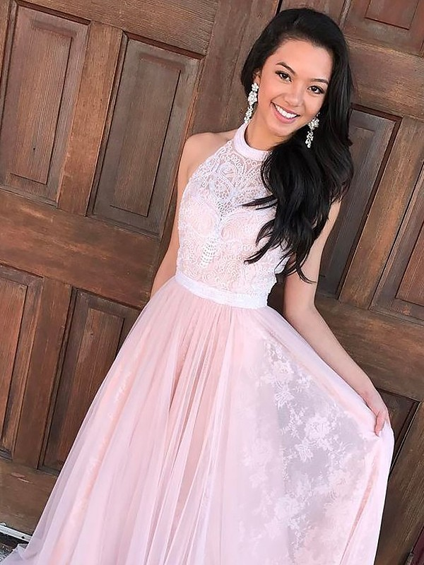A-Line/Princess Sleeveless Halter Sweep Train Pink Tulle Prom Dresses