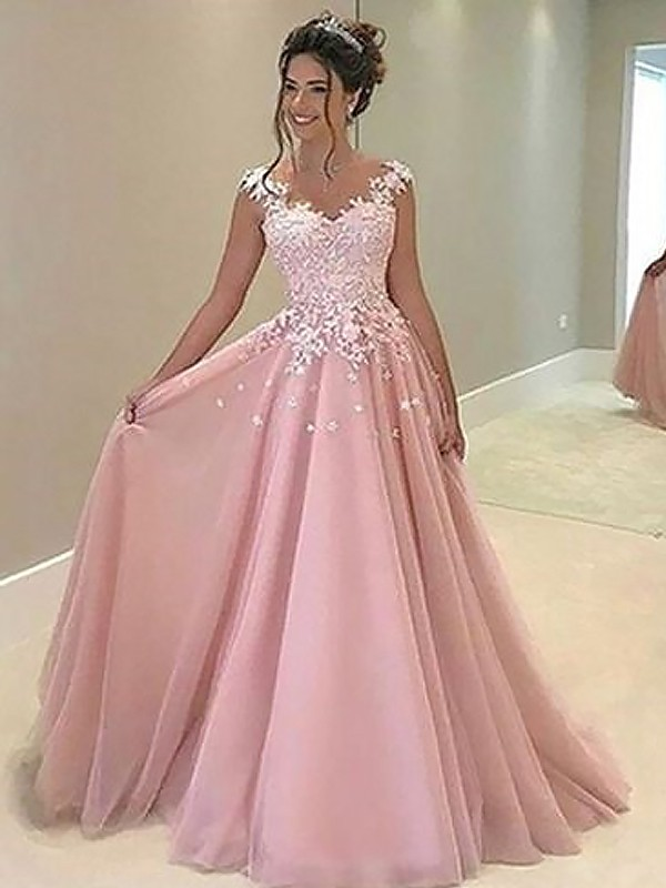 A-Line/Princess Sleeveless Sweetheart Long Pink Tulle Prom Dresses