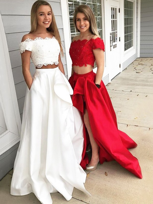 A-Line/Princess Sleeveless Off-the-Shoulder Sweep Train Ivory,Red Satin Prom Dresses