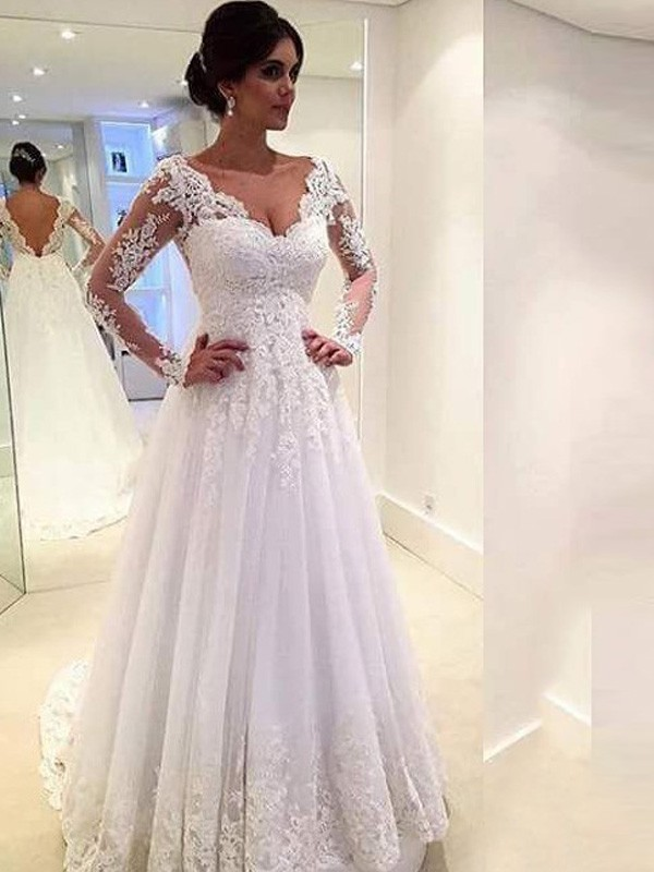 Ball Gown Long Sleeves V-neck Sweep/Brush Train Ivory Tulle Wedding Dresses