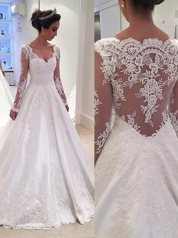 Ball Gown Long Sleeves V-neck Court Train Ivory Satin Wedding Dresses