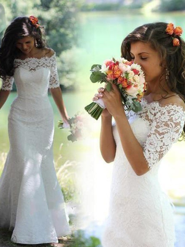 Mermaid 1/2 Sleeves Off-the-Shoulder Sweep Train White Lace Wedding Dresses