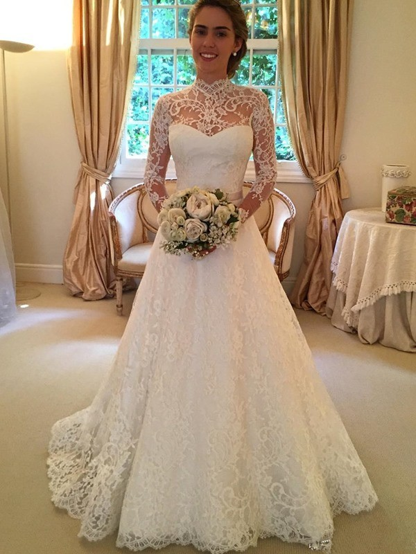 Ball Gown Long Sleeves High Neck Court Train White Lace Wedding Dresses
