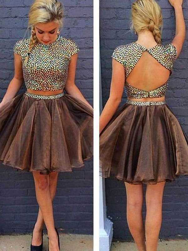 A-line/Princess Sleeveless Scoop Short Brown Organza Homecoming Dresses