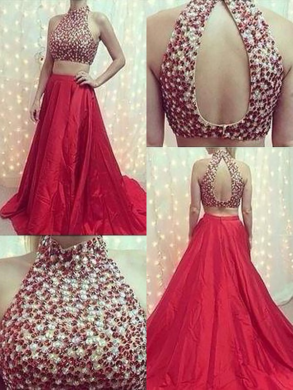 A-Line/Princess Sleeveless High Neck Sweep Train Red Satin Prom Dresses