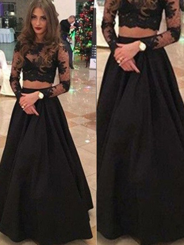 A-Line/Princess Long Sleeves Scoop Long Black Lace Prom Dresses
