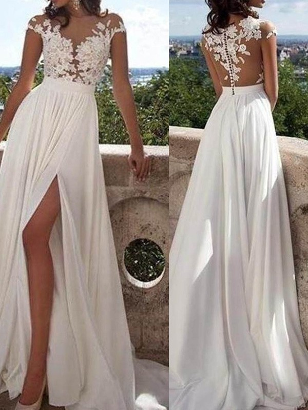 A-Line/Princess Short Sleeves Scoop Long Ivory Chiffon Prom Dresses