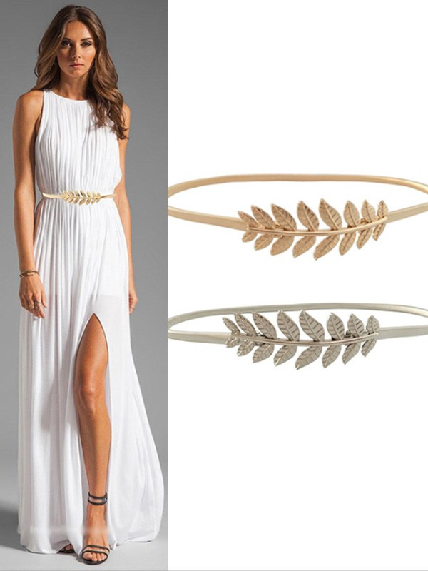 Women's Simple Elastic Metal Sashes With Leaves