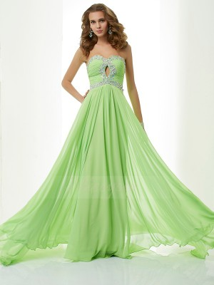 A-Line/Princess Sweetheart Sleeveless Sweep/Brush Train Green Dresses