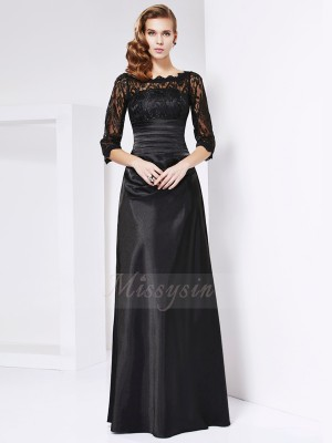 Sheath/Column Off-the-Shoulder 3/4 Sleeves Floor-Length Black Dresses
