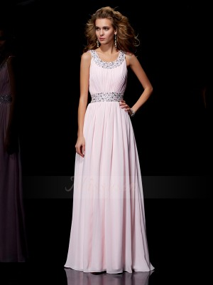 A-Line/Princess Scoop Sleeveless Floor-Length Pink Dresses