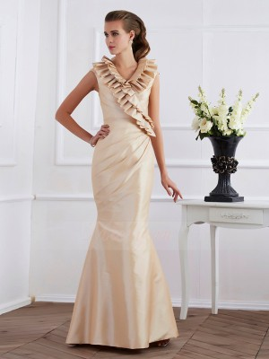 Sheath/Column V-neck Short Sleeves Floor-Length Champagne Dresses