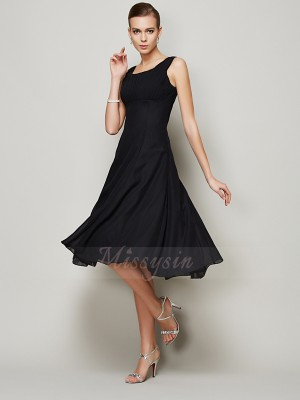 A-Line/Princess Straps Sleeveless Knee-Length Black Dresses