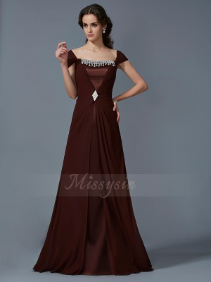 A-Line/Princess Strapless Short Sleeves Floor-Length Chocolate Dresses