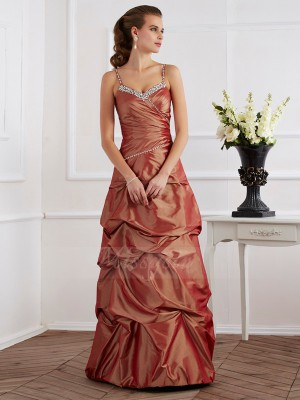 Sheath/Column Spaghetti Straps Sleeveless Floor-Length Brown Dresses