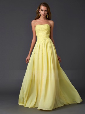 A-Line/Princess Strapless Sleeveless Sweep/Brush Train Daffodil Dresses