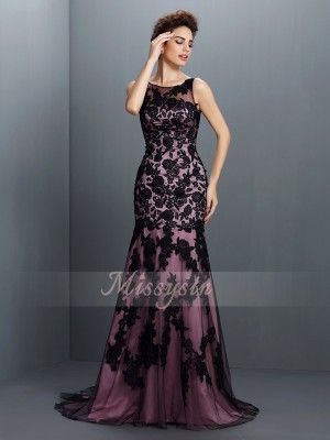 Sleeveless Bateau Elastic Woven Satin Long Black Dresses