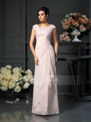Sleeveless Scoop Chiffon Long Pearl Pink Mother of the Bride Dresses