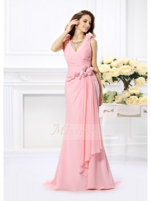 Sleeveless V-neck Chiffon Sweep/Brush Train Pink Bridesmaid Dresses