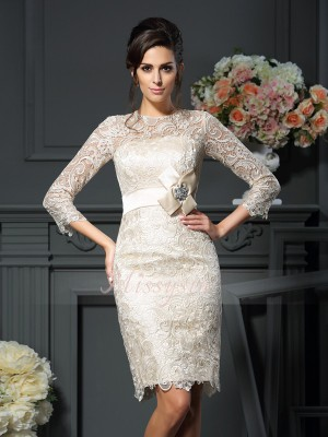 3/4 Sleeves Scoop Lace Short/Mini Champagne Mother of the Bride Dresses